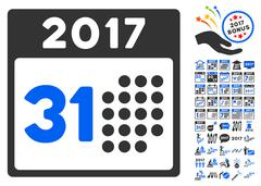 Last 2017 Month Day Icon With 2017 Year Bonus Pictograms Stock Illustration