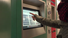 Person using ticket machine in Frankfurt Subway station 4k Stock Footage