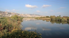 Kishon River and Mount Carmel Israel Stock Footage