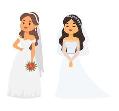 Wedding bride girl character vector Stock Illustration