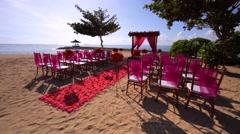 Nusa Dua beach. Wedding ceremony on the beach. Daytime. Ocean surf. Stock Footage