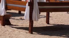 Nusa Dua beach famous luxury place for vacation. Gazebo on the beach. Ocean Stock Footage