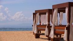 Nusa Dua beach famous luxury place for vacation. Gazebo on the beach Stock Footage