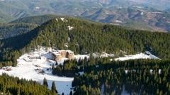 Pamporovo winter ski resort from Snezhanka Peak Stock Footage
