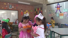 Girls playing with baloons Stock Footage