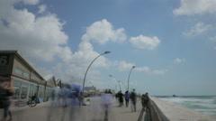 Tel Aviv city Israel beach board walk time lapse Stock Footage