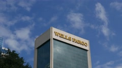 Time lapse of clouds behind the Wells Fargo Building in downtown Jacksonville Stock Footage