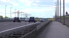 Traffic going down German highway on cloudy day 4k Stock Footage