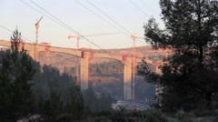 Bridge construction in Jerusalm Israel Stock Footage