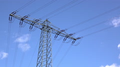 Electrical power lines with blue sky background 4k Stock Footage