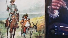 Images of Don Quixote and Cervantes Stock Footage
