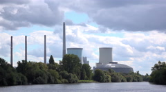 Power Station in Hanau Germany along Main river 4k Stock Footage