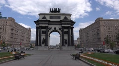 Moscow Triumphal Arch at empty Victory Square, panning shot Stock Footage
