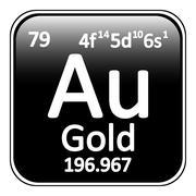 Periodic table element gold icon. Stock Illustration