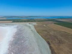 Saline Salt Lake in the Azov Sea coast. Former estuary. View from above. Dry  Stock Photos