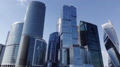 Block of modern tall skyscrapers called Moscow City, long slide shot Stock Footage