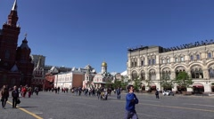Red square pan shot from State Historical Museum to GUM and Kremlin Stock Footage
