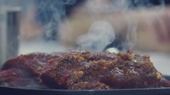 A delicious piece of meat with the smoke. Culinary Arts Stock Footage
