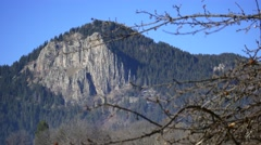 Rugged peak of rocks near Smolyan Town, Rhodope mountains, Bulgaria Stock Footage