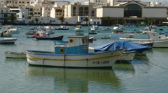 Zoom Out View of Small Harbor in Arrecife, Canary Islands in Spain Stock Footage