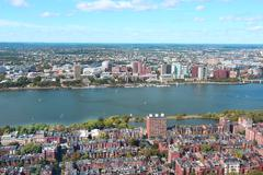 Aerial view of Boston skyline and Cambridge district separated by Charles Riv Kuvituskuvat