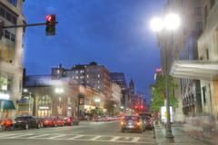 Boston, Massachusetts - September 10, 2016: Downtown Boston in the twilight o Stock Photos