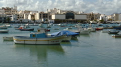 Wide View of Small Harbor in Arrecife, Canary Islands in Spain Stock Footage