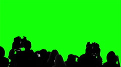 Many camera operators, reporters working at press event, chroma key background Stock Footage