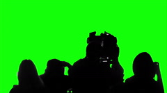 Television crew covering event, live broadcast, media, reporters on green screen Stock Footage