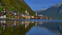 View of Hallstatt at Hallstatt lake in Austria Stock Footage