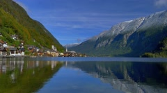 View of Mountain landscape and Village Hallstatt at Hallstatt lake in Austria Stock Footage