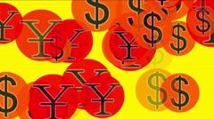 4k Float USA dollars China RMB money wealth symbol,exchange rate background. Arkistovideo