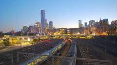 Moving shot of trains in a modern city Stock Footage