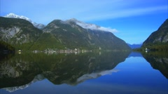 View of Mountain landscape at Hallstatt lake in Austria Stock Footage