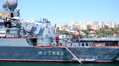 Guards missile cruiser goes on the bay in Sevastopol. Crimea. Stock Footage
