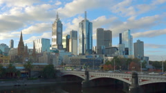 Moving shot along the Yarra River in downtown Melbourne Stock Footage