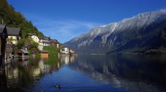 View of Mountain landscape and Village Hallstatt at Hallstatt lake in Austria Stock Footage