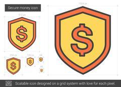 Secure money line icon Stock Illustration