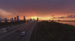 Drone Flying Along Freeway at Sunset in Miami Beach 4k Stock Footage