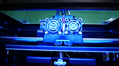 3D printer for printer model. Working in the lab, 3D printing technology. Stock Footage
