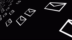 4k,background of the envelope E-Mail,flying mails,future tech screen. Stock Footage