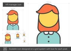 HR manager line icon Stock Illustration