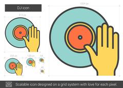 DJ line icon Stock Illustration