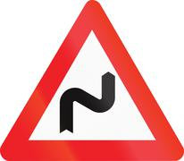 Belgian warning road sign - Double bend, first to right Stock Illustration