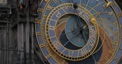 Closeup of The Prague astronomical clock or Prague orloj's clock face over Th Stock Footage