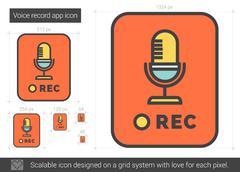 Voice record app line icon Stock Illustration