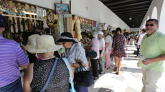 Fatima, Portugal, SEPTEMBER 03 2016: Commercial sale of religious souvenirs in Stock Footage