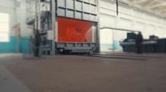 Steel ingot in the workspace, Big red-hot metal detail from metal furnace Stock Footage