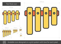 Pan flute line icon Stock Illustration