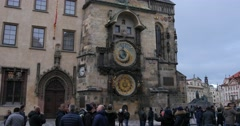 Tourists at Old Town Square over The Prague astronomical clock or Prague orlo Stock Footage
